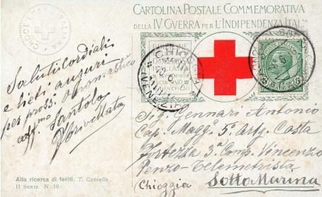 """Cartolina celebrativa della Croce Rossa datata 8 giugno 1916 indirizzata al Cap.le Magg. Gennari Antonio, III Comp., V Rgt. Artiglieria da Fortezza, Batteria """"Vincenzo Penzo"""""""