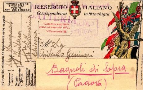 Cartolina in franchigia datata 12 dicembre 1918 indirizzata al congedato Gennari Antonio dalla III Comp., V Rgt. Artiglieria da Fortezza. Il timbro della censura è quello della batteria (037).
