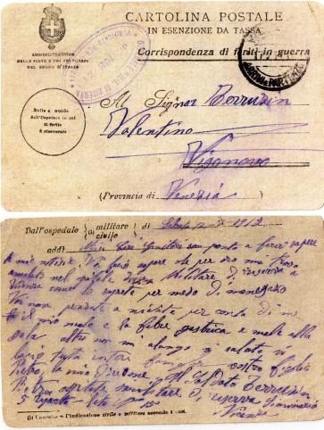 Cartolina spedita da Pietro Terruzzin dall'Ospedale di Vicenza il 12 luglio 1917