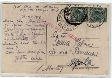 Cartolina spedita il 16 novembre 1918 dall'Ospedale da campo n. 203 di Arino di Dolo