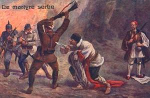 Questa cartolina rappresenta un soldato serbo che combatte contro gli austro-ungarici ed i tedeschi mentre i greci rimangono a guardare e i bulgari lo pugnalano alle spalle. Fonte: http://goo.gl/Yp8fqT