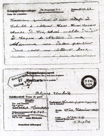Fronte e retro della cartolina spedata dal Lager dal soldato Pelizza Giuseppe